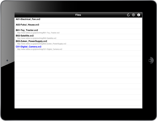 iPad with files for iXVL Publisher